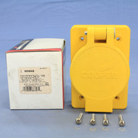 Cooper Yellow Hart-Lock Watertight Twist Turn Locking Receptacle Outlet L6-15R 15A 250V 2-Pole 3-Wire Grounding 65W49