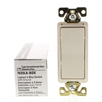 Cooper Light Almond Commercial Grade LIGHTED Decorator 3-Way Rocker Wall Light Switch Control 20A 120/277V 7633LA