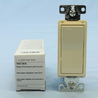 Cooper Almond COMMERCIAL Grade Decorator Single Pole Rocker Wall Light Switch 15A 347V Autoground 7601-347A