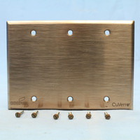 Cooper Antimicrobial Copper CuVerro Rose Blank 3-Gang Cover Wallplate Standard Size 93153CUR