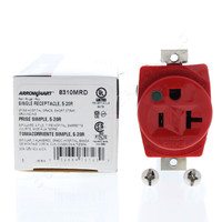 Cooper Red Hospital Grade Straight Blade Single Receptacle Outlet NEMA 5-20R 20A Short Strap 8310MRD