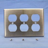 Cooper Antimicrobial Copper CuVerro Receptacle 3-Gang Duplex Outlet Cover Wallplate Standard Size 93103CU