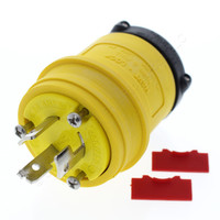 Cooper Arrow Hart Yellow Non-NEMA Hart-Lock Plug Twist Turn Locking 20A 125/250V 3ØY 3P3W Insulated Elastomeric 9965PY