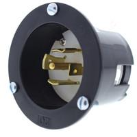 New Cooper Black Twist Turn Locking Flanged Inlet NEMA L23-20R 20A 347/600V 3Ø 4P5W Hart-Lok AHL2320FI
