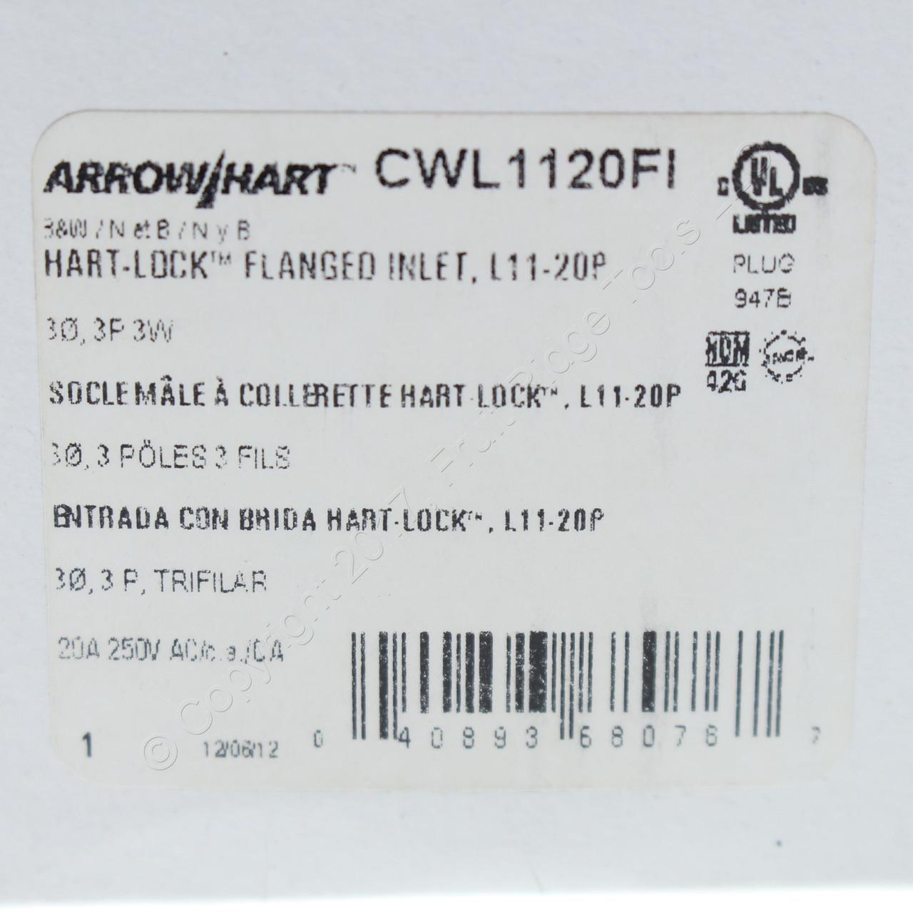 Cooper L7-20P Twist Turn Locking Connector Plug NEMA 20A 277V Lot of 10