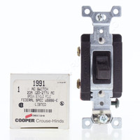Cooper Brown Industrial Grade Single Pole Toggle Wall Light Switch Control 20A 120/277V AC 1991