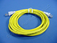 Leviton Yellow Cat 5 10 Ft Ethernet LAN Patch Cord Network Cable Cat5 White Boot 5G454-10W