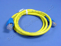 Leviton Yellow Cat 5 3 Ft Ethernet LAN Patch Cord Network Cable Cat5 Blue Boot 5G454-3L