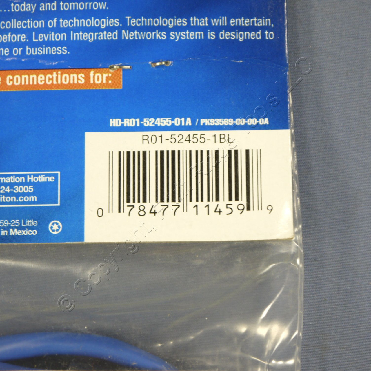 5 Blue Leviton Cat 5 1-Foot Ethernet LAN Patch Cords Network Cables 52455-1BL