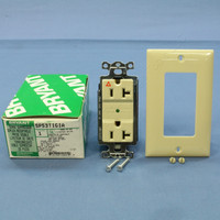 Bryant Ivory ISOLATED Ground SURGE Suppressor Decorator Receptacle Outlet Protector NEMA 5-20R 20A 125V SP53TIGIA