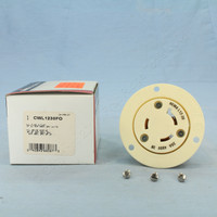 New Cooper White Industrial Locking Flanged Outlet NEMA L12-30R 30A 480V 3Ø CWL1230FO