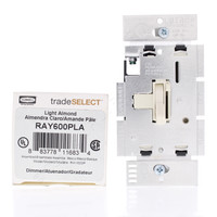 Hubbell Light Almond Toggle ON/OFF Full-Range Light Dimmer Switch Single Pole 600W RAY600PLA