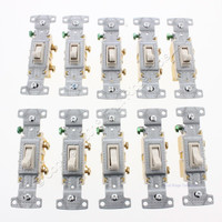 10 Hubbell Bryant RESIDENTIAL Grade Light Almond Single Pole Toggle Wall Light Switches 15A RS115LA