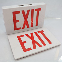 New AstraLite Universal Thermoplastic White LED Exit Sign Red Letter TP-U-R-W-EM