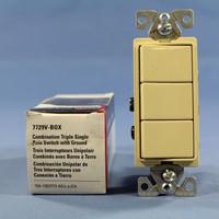 Cooper Ivory Combination Single Pole Decorator Triple Rocker Light Switch 15A 7729V