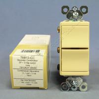 Pass & Seymour Trademaster Ivory Decorator Triple Rocker 1-Single Pole 3-Way Wall Light Switch 15A 120V TM813-I