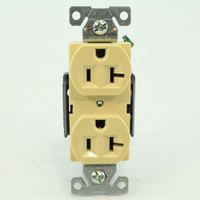 Cooper Ivory Construction 20A 125V 2-Pole 3-Wire NEMA 5-20 Back & Side Wire Grounding Compact Duplex Receptacle 5362CV