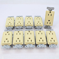 10 Cooper Ivory Commercial Grade Decorator Straight Blade Receptacle NEMA 5-15R 2-Pole 3-Wire 15A 125V B&S DECB15I