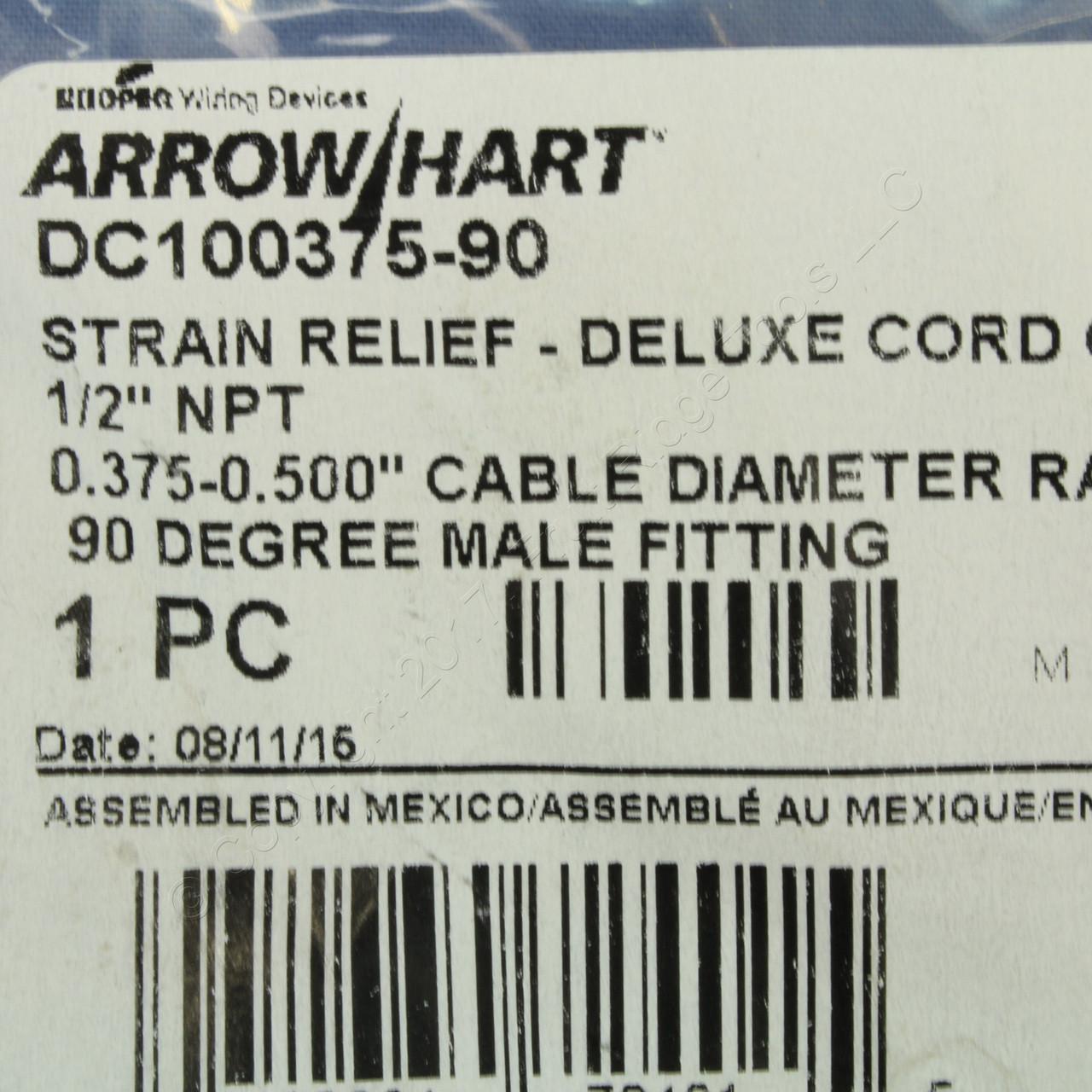 "Cooper 90° Male Delux Grip Strain Relief Cable 0.375/""-0.500/"" 3//4/""NPT DC200375-90"