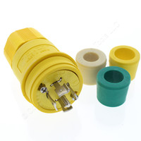 Cooper Yellow Industrial Grade Back Wire Grounding Watertight Locking Plug NEMA L23-20R 20A 347/600V 3PH 4P5W L2320PW