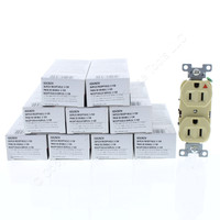 10 Cooper Ivory Industrial Duplex Isolated Ground Receptacles 5-15R 15A 125V 2-Pole 3-Wire Back & Side Wired IG5262V