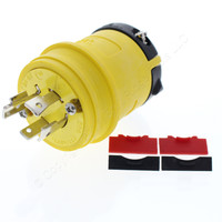 Cooper Yellow Industrial Grade Locking Plug Non-Grounding Back Wire NEMA L19-20R 20A 277/480V 3PH 4-Pole 4-Wire L1920PY