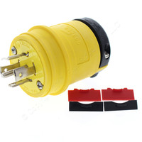 Cooper Yellow Industrial Grade Locking Plug NEMA L21-20P Back WIre Non-Grounding 20A 120/208V 3PH 4-Pole 5-Wire L2120PY