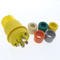 Cooper Yellow Industrial Grade Locking Watertight Plug NEMA L23-30P Back Wire Grounding 30A 347/600V 3PH 4P5W L2330PW