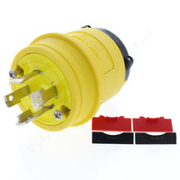 Cooper Yellow Industrial Grade Non-Grounding Back Wire Locking Plug NEMA L20-30P 30A 347/600V 3PH 4-Pole 4-Wire L2030PY
