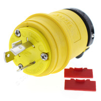 Cooper Yellow Industrial Grade Grounding Back Wire Locking Plug NEMA L7-20P 20A 277V 2-Pole 3-Wire L720PY