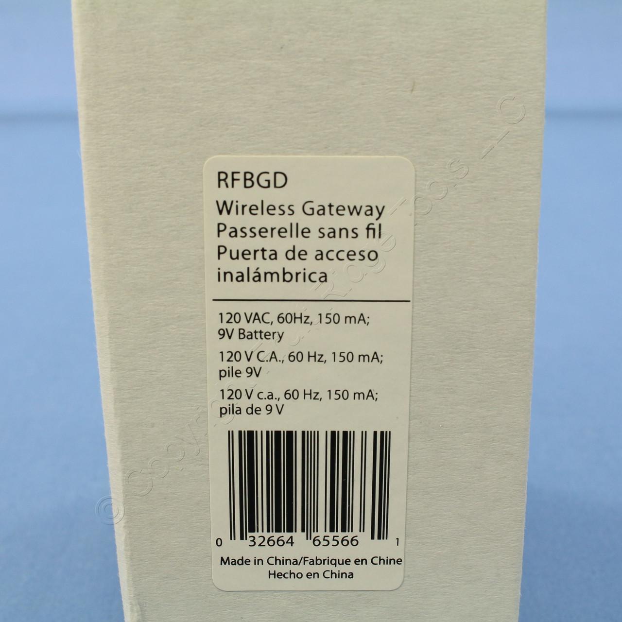 Cooper White Plug-In Wireless Gateway Module for Z-Wave ASPIRE RF Garage  Door System 120V 60Hz 150mA 9V Battery RFBGD