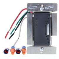 Cooper Silver Granite Single Pole 3-Way Smart Electronic Low Voltage Dimmer Decorator Switch 60Hz 120V 1000W RF9537-NSG