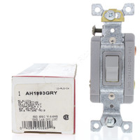 New Cooper Gray Industrial Grade Self-Grounding 3-Way Toggle Switch 20A 120/277V Back & Side Wired AH1993GRY