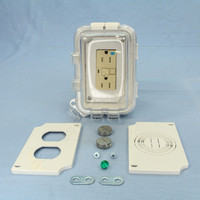 Cooper Ivory Tamper Resistant GFCI Straight Blade Duplex Receptacle w/Waterproof Cover 5-15R 15A 125V 2P3W WIUWTWRVGF15W