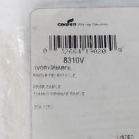 Cooper Ivory HOSPITAL Grade Nylon Straight Blade Single Receptacle Outlet 5-20R 20A 125V Back & Side Wired 8310V