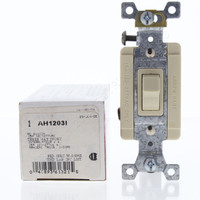 Cooper Ivory Industrial Grade Toggle Wall Light Switch 15A 120/277V 3-Way Back & Side Wired Automatic Grounding AH1203I