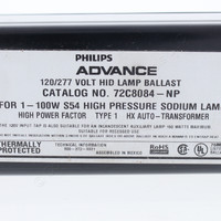 Advance HID Magnetic Dual Volt 120/277V 100W F-Can High Pressure Sodium Pulse Ballast 72C8084-NP