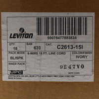 18 Leviton White 15ft Wall to Phone Line Cord with Modular Plugs 6-Wire 2613-15