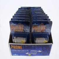 18 Leviton Ivory 15' Phone Line Extension Cords 6-Wire RJ11 RJ14 RJ25 C2613-15I