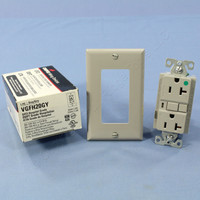 Cooper Gray Hospital Grade LIGHTED GFCI GFI Duplex Receptacle NEMA 5-20R 20A VGFH20GY
