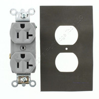 P&S Gray Straight Blade Dust & Moisture Resistant Grounding Duplex Receptacle NEMA 5-20R 2-Pole 3-Wire 20A 125V 6307