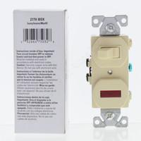 New Eaton Electric Ivory Pilot Light Toggle Switch Single Pole 15A 277V Boxed