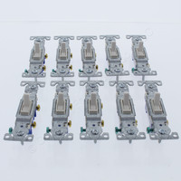 10 Eaton Lt Almond Toggle Wall Light Switches Quiet Single Pole 15A 1301-7LA