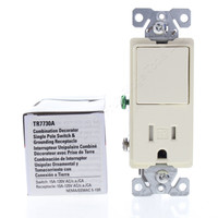 Cooper Almond TAMPER RESISTANT Single Pole Decorator Rocker Light Switch Receptacle Outlet NEMA 5-15R 15A TR7730A