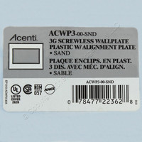 Leviton 3Gang Commercial Sand Acenti Screwless Snap-On Wallplate Cover ACWP3-SND
