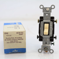 New Leviton Ivory Commercial Grade DOUBLE POLE Toggle Wall Light Switch Control 15A 120/277V 5502-2I