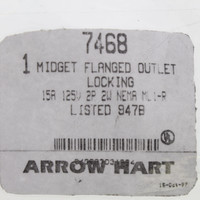 New Arrow Hart Armored Midget Locking Flanged Outlet Receptacle NEMA ML-1R 15A 125V 7468