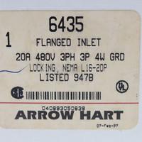 New Arrow Hart Gray Twist Turn Locking Flanged Inlet Plug Industrial Grade NEMA L16-20P 20A 480V 6435