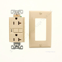 Eaton Ivory Self-Testing GFI GFCI Decorator Outlet Receptacle 5-20R 20A SGF20V