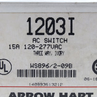 New Arrow Hart Ivory INDUSTRIAL Grade 3-Way Toggle Wall Light Switch Control 15A 120/277VAC 1203I